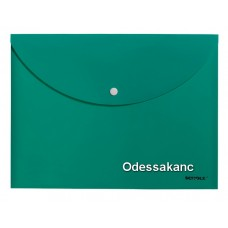 Папка - конверт с кнопкой непрозр., А4, РР 180мкн CHARMING, зеленая., 5127, SOZ